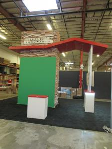 Custom Gravitee Tower with Tension Fabric Graphics, Roof Canopy, Reception Counters, Standoff Graphics, Large Monitor Mount, and Pendant Lights